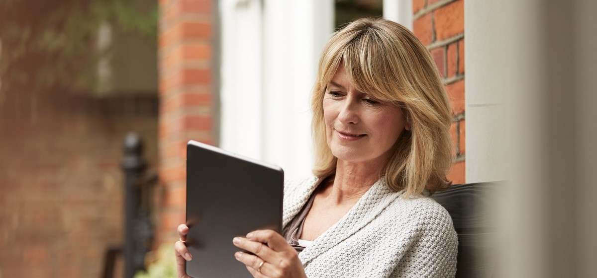 Woman browsing on tablet
